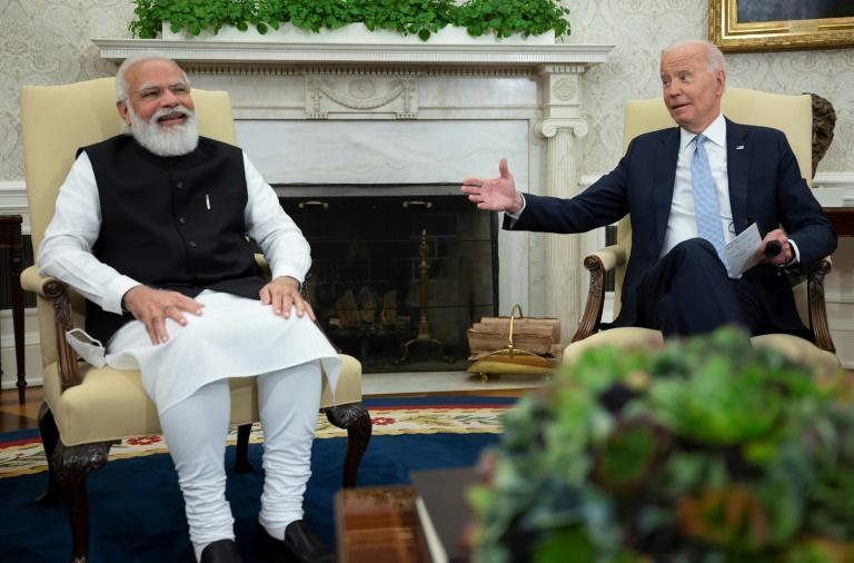 US President Joe Biden meets with Indian Prime Minister Narendra Modi in the Oval Office of the White House (AFP/Jim WATSON)