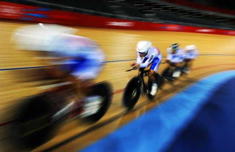South Korea's men's track cyclists are pictured during a training session at the Velodrome venue in Olympic park London, before the London 2012 Olympic games on July 26, 2012. AFP PHOTO/Carl de Souza