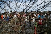 This file photo taken on April 25, 2018 shows Rohingya refugees at a temporary settlement in the border zone between Myanmar and Bangladesh