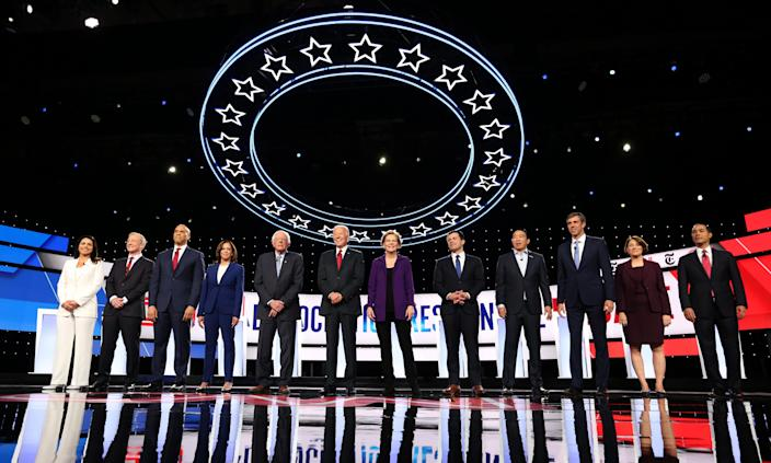 Twelve candidates among those still running shared the stage Tuesday night for the fourth Democratic presidential debate, hosted by CNN and the New York Times at Otterbein University in Westerville, Ohio. (Photo: Aaron Josefczyk/Reuters)