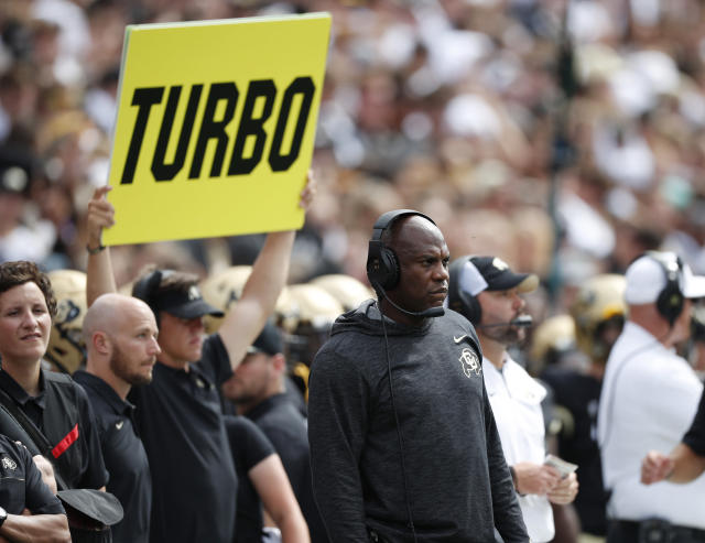 Colorado head coach Mel Tucker looks on against Nebraska in the first half of an NCAA college football game Saturday, Sept. 7, 2019, in Boulder, Colo. (AP Photo/David Zalubowski)