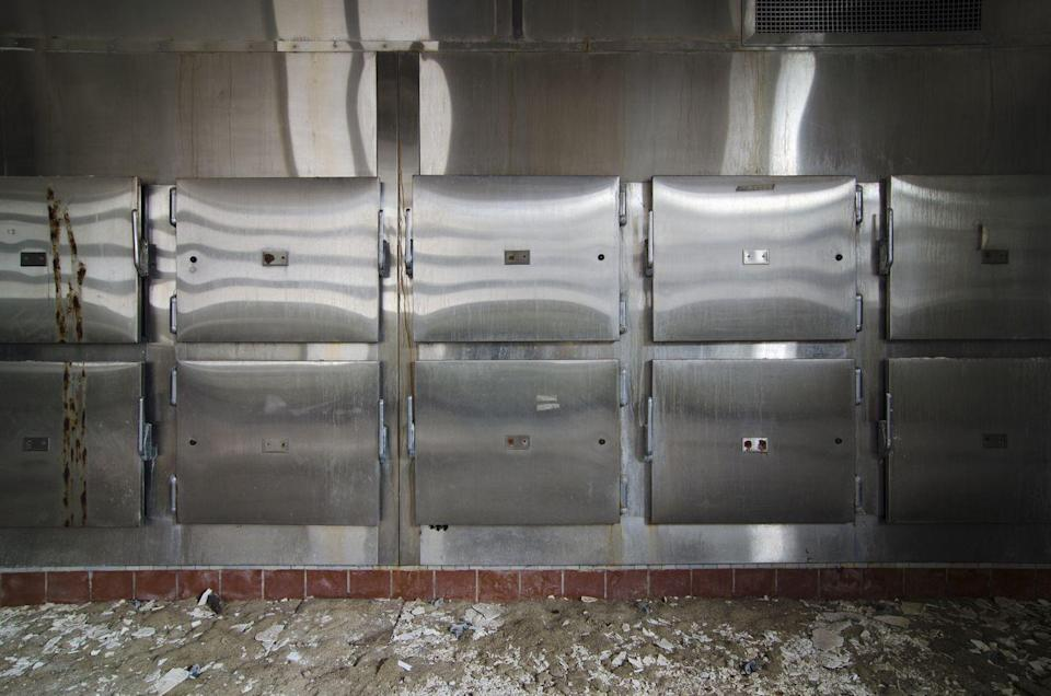 <p>A wall of mortuary drawers all sit empty in this barren morgue.</p>