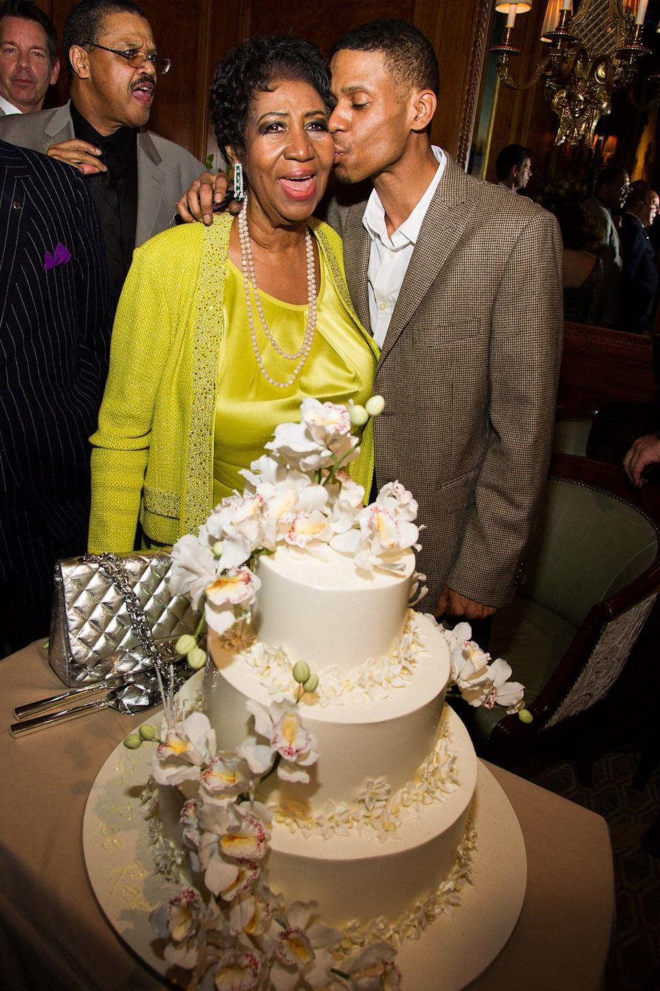 Aretha Franklin and her son Kecalf Cunningham attend her 72nd birthday celebration in March 2014 in New York.