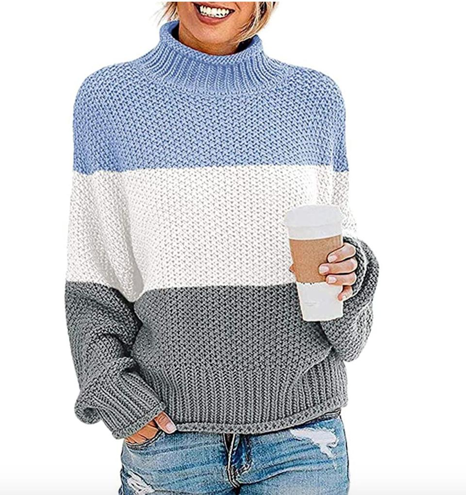 "<a href=""https://amzn.to/3cwf0ke"" target=""_blank"" rel=""noopener noreferrer"">This knitted colorblock sweater</a> is available in sizes S to XXL in 24 colors. Find it for $35 on <a href=""https://amzn.to/3cwf0ke"" target=""_blank"" rel=""noopener noreferrer"">Amazon</a>."