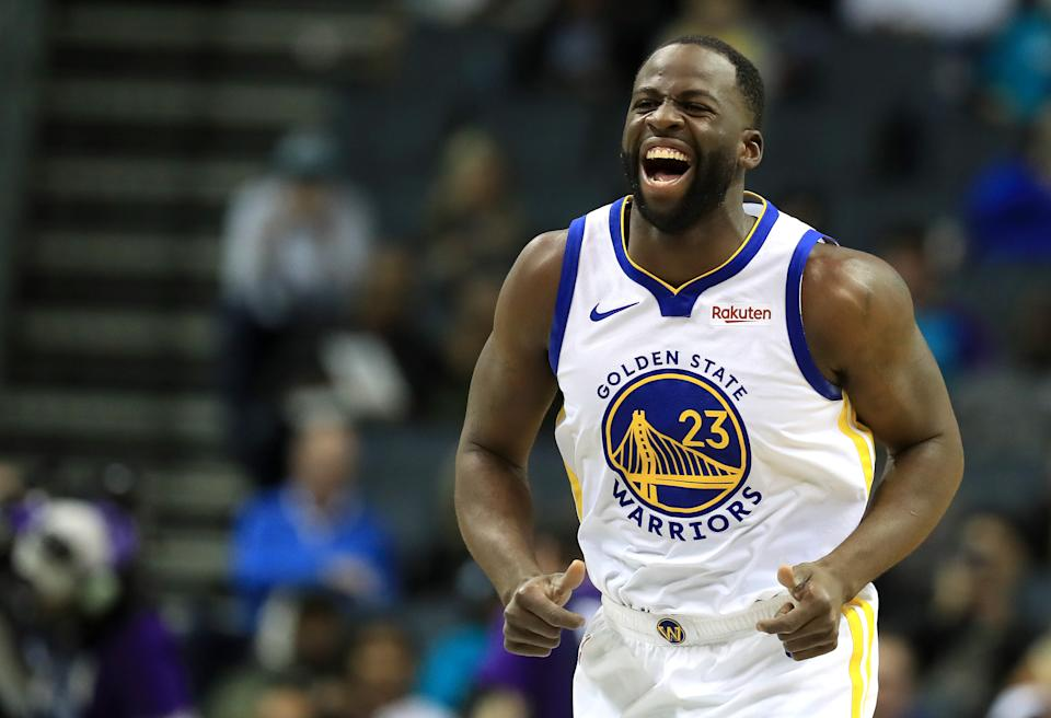 CHARLOTTE, NORTH CAROLINA - DECEMBER 04: Draymond Green #23 of the Golden State Warriors reacts after a play against the Charlotte Hornets during their game at Spectrum Center on December 04, 2019 in Charlotte, North Carolina. NOTE TO USER: User expressly acknowledges and agrees that, by downloading and or using this photograph, User is consenting to the terms and conditions of the Getty Images License Agreement. (Photo by Streeter Lecka/Getty Images)