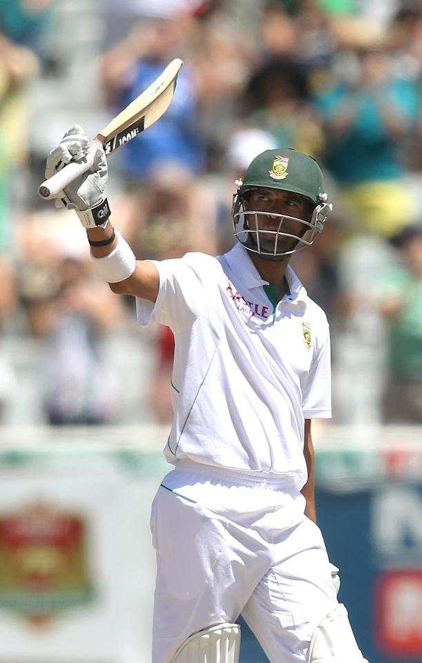 CAPE TOWN, SOUTH AFRICA - FEBRUARY 16:  Robin Peterson of South Africa raises his bat after reaching his fifty  during day 3 of the 2nd Sunfoil Test match between South Africa and Pakistan at Sahara Park Newlands on February 16, 2013 in Cape Town, South Africa. (Photo by Shaun Roy/Gallo Images/Getty Images)