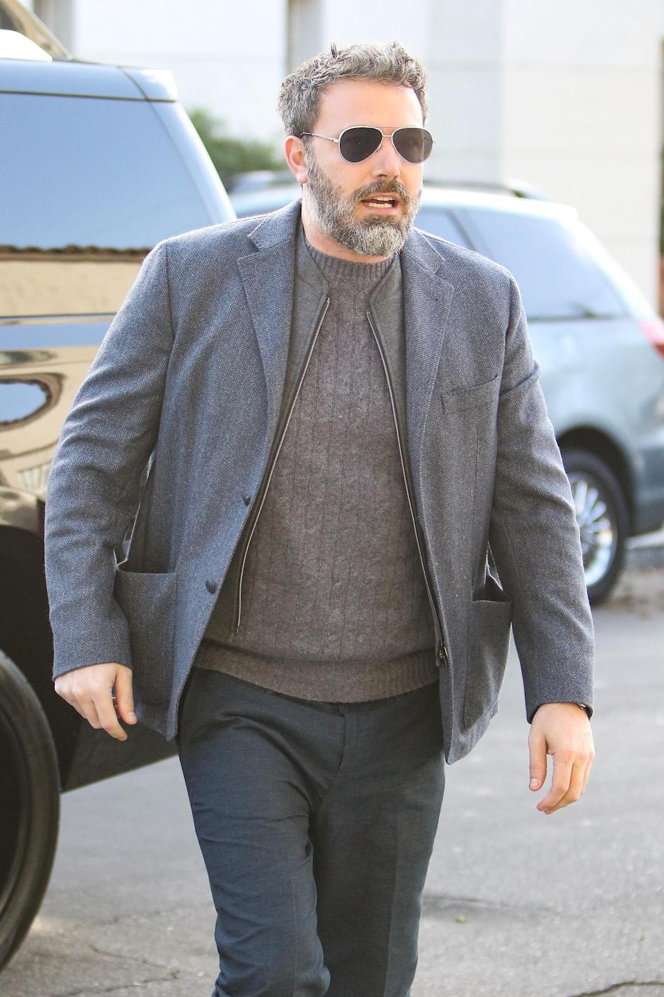 """<p>As the number of women accusing former Weinstein Company executive Harvey Weinstein of sexual misconduct <a rel=""""nofollow"""" href=""""https://www.yahoo.com/celebrity/women-accused-harvey-weinstein-sexual-misconduct-far-005346895.html"""" data-ylk=""""slk:continued to grow;outcm:mb_qualified_link;_E:mb_qualified_link;ct:story;"""" class=""""link rapid-noclick-resp yahoo-link"""">continued to grow</a>, Affleck, who starred in several of Weinstein's movies over the years, <a rel=""""nofollow"""" href=""""https://www.yahoo.com/entertainment/ben-affleck-matt-damon-become-guest-stars-harvey-weinstein-scandal-171213233.html"""" data-ylk=""""slk:found himself in controversy;outcm:mb_qualified_link;_E:mb_qualified_link;ct:story;"""" class=""""link rapid-noclick-resp yahoo-link"""">found himself in controversy</a>. He stepped out in L.A., but he probably would have preferred to stay home and avoid the press. (Photo: BG004/Bauer-Griffin/GC Images) </p>"""