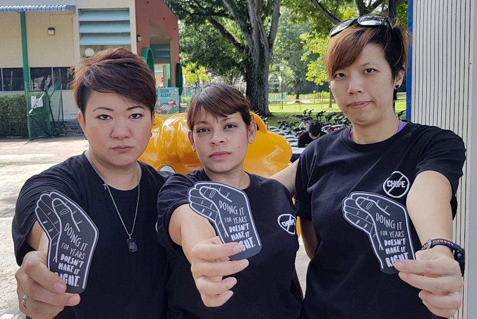 """From left to right: Anti-Chope Movement founder Katelin Teo and fellow """"ambassadors"""" Stacey Ann Nonis and Julia Hee. (PHOTO: Anti-Chope Movement)"""