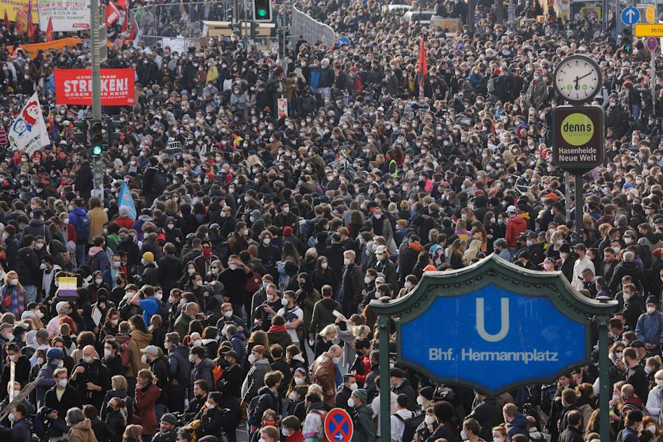 Thousands of protestors attended a May Day rally at the Hermannplatz square in Berlin on SaturdayAP