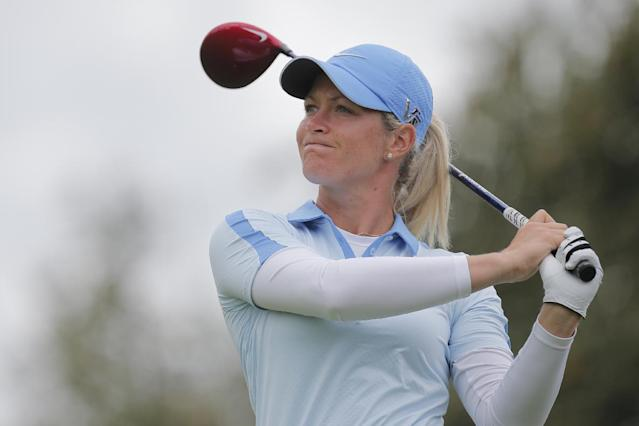 Suzann Pettersen of Norway plays on the first hole during the third and last round of the Evian Championship women's golf tournament in Evian, eastern France, Sunday, Sept. 15, 2013. (AP Photo/Laurent Cipriani)