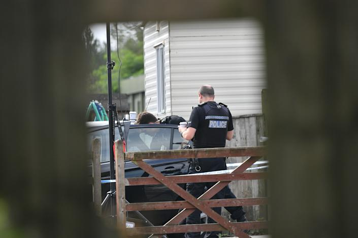 """Police at a caravan site near Burghfield Common in Berkshire, following the death of Thames Valley Police officer Pc Andrew Harper, 28, who died following a """"serious incident"""" at about 11.30pm on Thursday near the A4 Bath Road, between Reading and Newbury, at the village of Sulhamstead in Berkshire."""