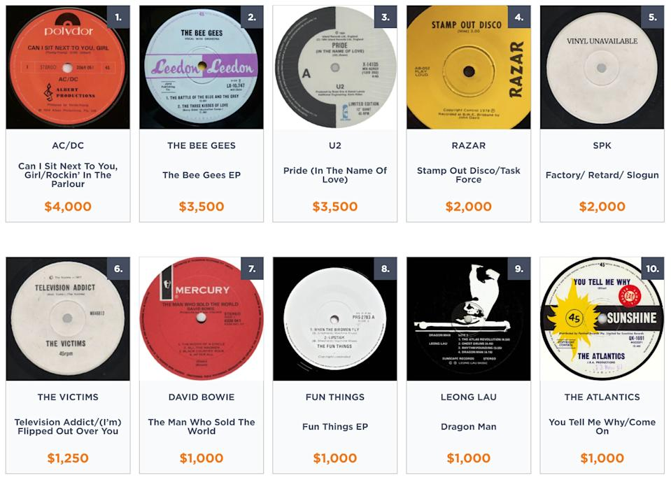 Most valuable vinyl records released in Australia, according to Noble Oak.