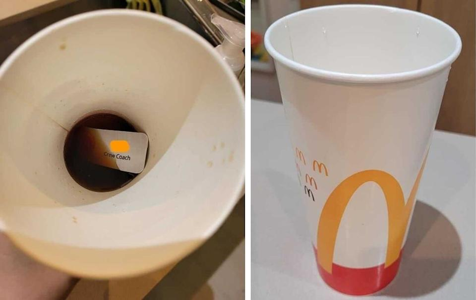 A McDonald's cup with a name badge inside. Source: Facebook.