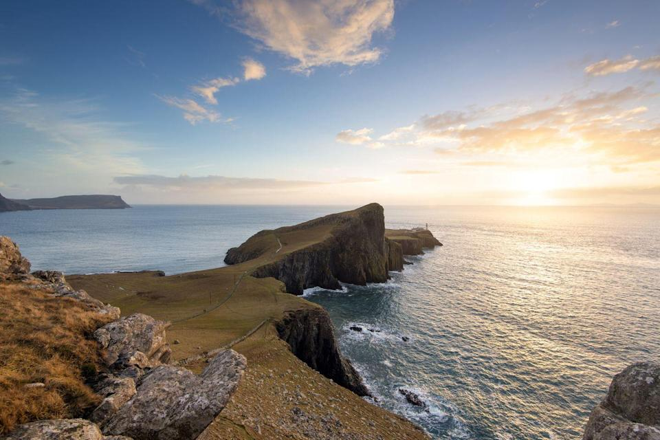 """<p>Neist Point is the most westerly point of the Isle of Skye, Inner Hebrides of Scotland.</p><p><a class=""""link rapid-noclick-resp"""" href=""""https://www.countrylivingholidays.com/tours/scotland-hebrides-islands-islay-mull-cruise"""" rel=""""nofollow noopener"""" target=""""_blank"""" data-ylk=""""slk:SEE SCOTLAND'S INNER HEBRIDES"""">SEE SCOTLAND'S INNER HEBRIDES</a></p>"""