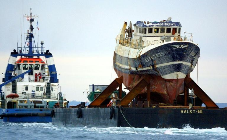 Five crew members drowned when the Bugaled Breizh sank off Cornwall, southwest England, in January 2004 (AFP/FRED TANNEAU)