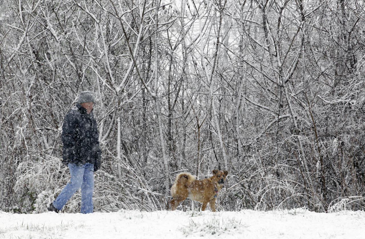 Don Buckley takes his dog Gracie for a walk during a spring snowstorm in Akron, N.Y., Monday, April 23, 2012. A spring nor'easter dumped up to six inches of snow east of Lake Ontario on Monday, and parts of western New York could see more than a foot of snow before the late-season storm moves on. (AP Photo/David Duprey)