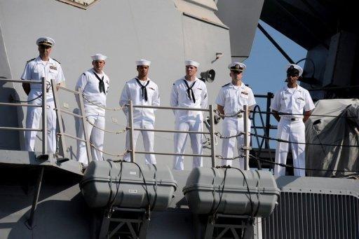 File picture shows US naval personnel on board the guided-missile destroyer USS Chung Hoon before a a joint US-Philippine naval exercise in June close to the strategically vital South China Sea. The United States, facing a rising China but a tighter budget, expects to station several combat ships in Singapore and may step up deployments to the Philippines and Thailand, a naval officer said