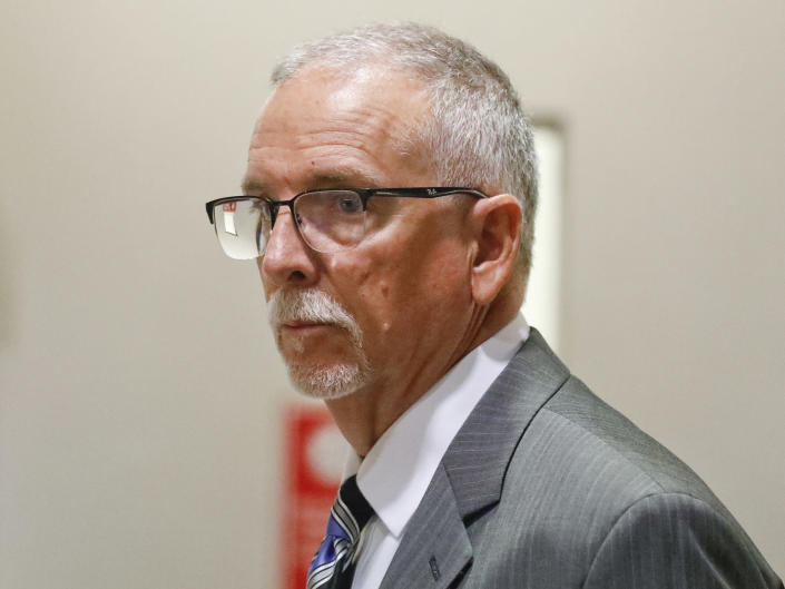 FILE - In this June 26, 2019, file photo, UCLA gynecologist James Heaps appears in Los Angeles Superior Court. Heaps, faces additional criminal charges in a case where he is accused of sexually abusing seven women, the Los Angeles Times reported Monday, May 24, 2021. Heaps was taken into custody Monday on $1.19 million bail after the grand jury's indictment was unsealed, the newspaper reported. He was arrested in June 2019; his medical license has been suspended by court order as that case moves forward. (Al Seib/Los Angeles Times via AP, Pool, File)
