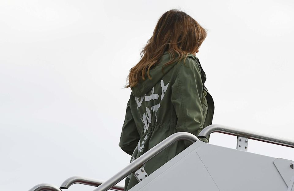 """For Trump's visit last week to a housing facility for children in McAllen, Texas, words on the back of her jacket read: """"I really don't care, do u?"""" (Photo: Getty Images)"""