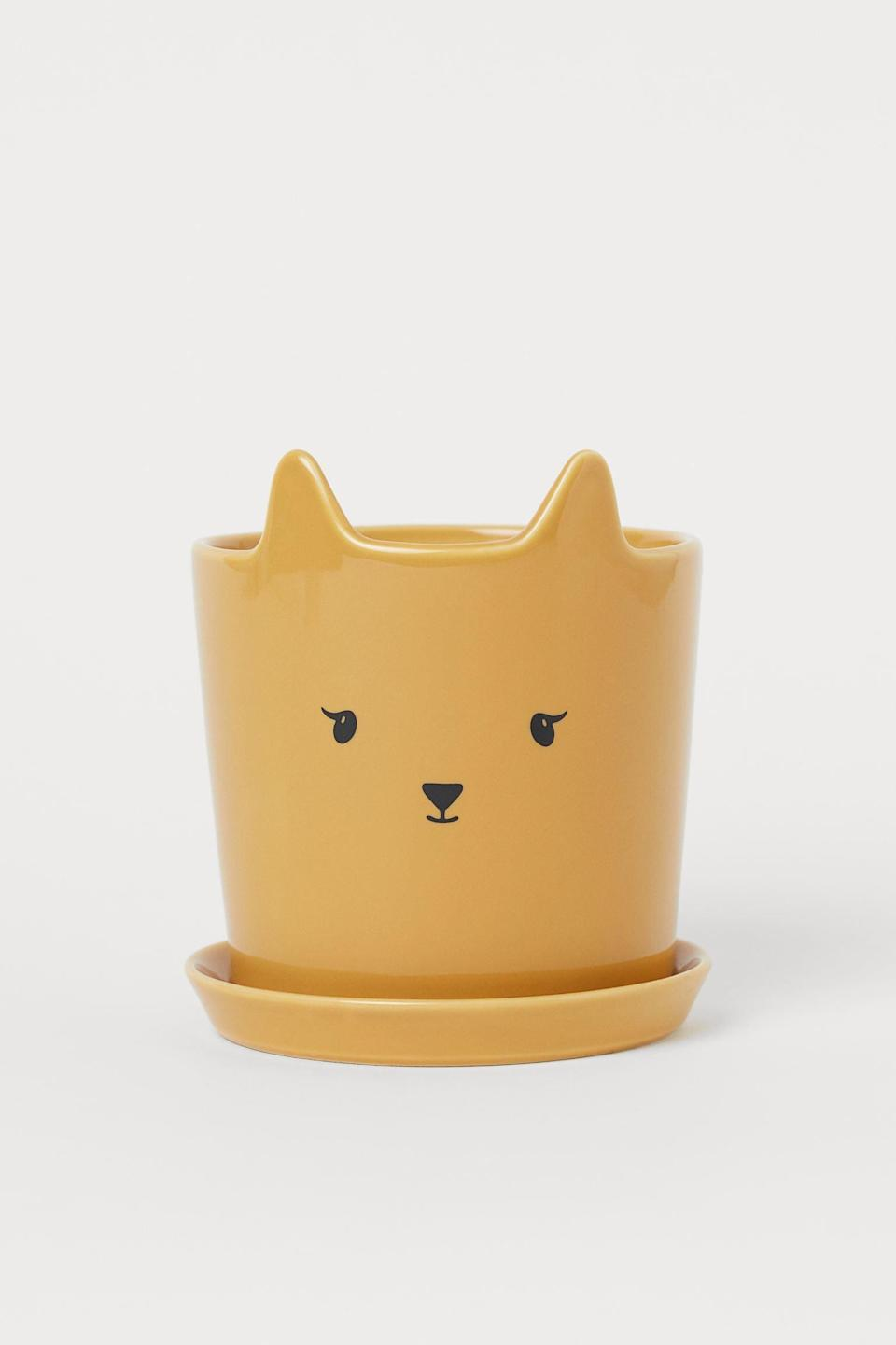 <p>Cat-lovers will obsess over this <span>H&amp;M Plant Pot and Saucer</span> ($15).</p>