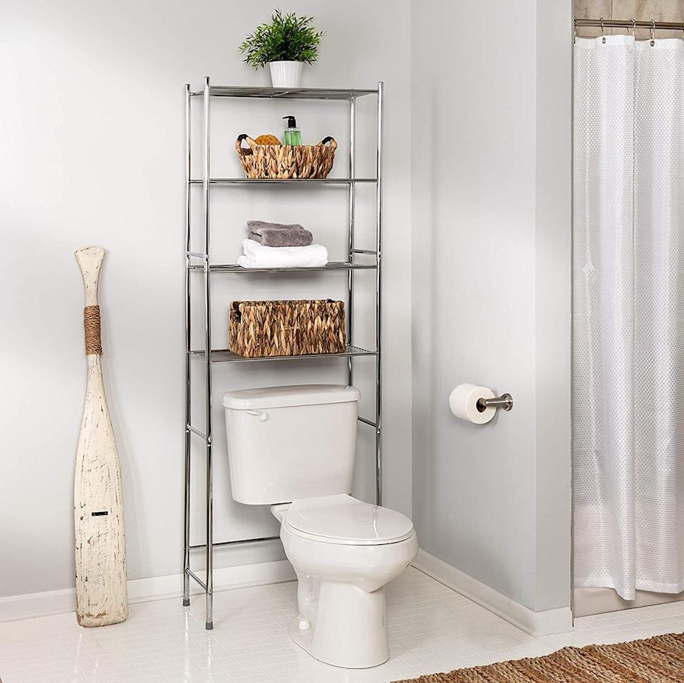 """Designed to fit right above your toilet, this storage shelf will give you a place to store extra towels and TP (which means you won't have to scream for your roommates or S.O. when, you know, either of those things isn't available).<br /><br /><strong>Promising review:</strong>""""Great storage capacity. Bought for my son in his new apartment. Very little storage space in the vanity and no shelves on the wall.<strong>This gave him a huge amount of storage space for his clean towels and toiletries</strong>."""" —<a href=""""https://www.amazon.com/dp/B00R3FTN1M?tag=huffpost-bfsyndication-20&ascsubtag=5834502%2C33%2C46%2Cd%2C0%2C0%2C0%2C962%3A1%3B901%3A2%3B900%3A2%3B974%3A3%3B975%3A2%3B982%3A2%2C16271122%2C0"""" target=""""_blank"""" rel=""""noopener noreferrer"""">Jnic</a><br /><br /><strong>Get it from Amazon for<a href=""""https://www.amazon.com/dp/B00R3FTN1M?tag=huffpost-bfsyndication-20&ascsubtag=5834502%2C33%2C46%2Cd%2C0%2C0%2C0%2C962%3A1%3B901%3A2%3B900%3A2%3B974%3A3%3B975%3A2%3B982%3A2%2C16271122%2C0"""" target=""""_blank"""" rel=""""noopener noreferrer"""">$28.94</a>.</strong>"""