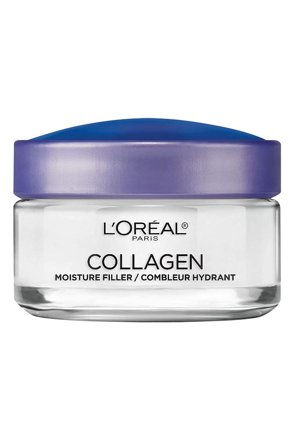 """<p><strong>L'Oreal Paris</strong></p><p>amazon.com</p><p><strong>$8.98</strong></p><p><a href=""""https://www.amazon.com/dp/B002JDUMFO?tag=syn-yahoo-20&ascsubtag=%5Bartid%7C10058.g.34015100%5Bsrc%7Cyahoo-us"""" rel=""""nofollow noopener"""" target=""""_blank"""" data-ylk=""""slk:SHOP IT"""" class=""""link rapid-noclick-resp"""">SHOP IT</a></p><p>If you've thought about reaching for injectable fillers to regain your youth, save some money and pick up this cream instead. It's infused with collagen that plumps up the skin, and hydrates like no other.</p>"""
