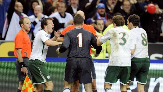 <p>France claimed victory over the Republic of Ireland by a narrow 1-0 margin at Croke Park in the first leg between the two sides, setting up a tense return fixture at the Stade de France days later.</p> <br><p>Ireland went ahead in the game through Robbie Keane and Giovanni Trapattoni's men held on to force extra time.</p> <br><p>It was then that one of the most controversial moments in football history occurred, as Thierry Henry appeared to magically control the ball from going out of play to square to William Gallas of all people to tap home.</p> <br><p>Replays confirmed that a sheepish looking Henry had deceived the referee with the most blatant of handballs, as France went through to the finals.</p> <br><p>The Irish FA later requested both a replay of the fixture and an unprecedented grant to play at the finals in South Africa as a 33rd team, but it fell on deaf ears. Henry later apologised. Which also fell on deaf ears.</p>