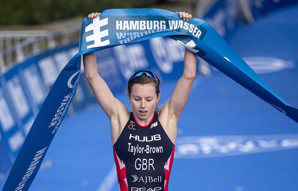 dpatop - 05 September 2020, Hamburg: Triathlon: ITU World Triathlon Series/World Championship. Georgia Taylor-Brown from Great Britain wins the Women Elite Race in the City Park. Photo: Axel Heimken/dpa (Photo by Axel Heimken/picture alliance via Getty Images)