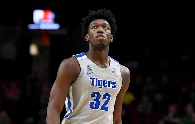 James Wiseman of the Memphis Tigers walks up the court during a game against the Oregon Ducks on Nov. 12, 2019 in Portland, Oregon. (Steve Dykes/Getty Images)