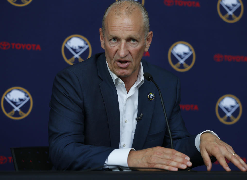 FILE - Buffalo Sabres head coach Ralph Krueger addresses the media during an NHL hockey introductory press conference in Buffalo, N.Y., in this Wednesday, June 5, 2019, file photo. The Sabres fired coach Ralph Krueger on Wednesday, March 17, 2021. (AP Photo/Jeffrey T. Barnes, File)