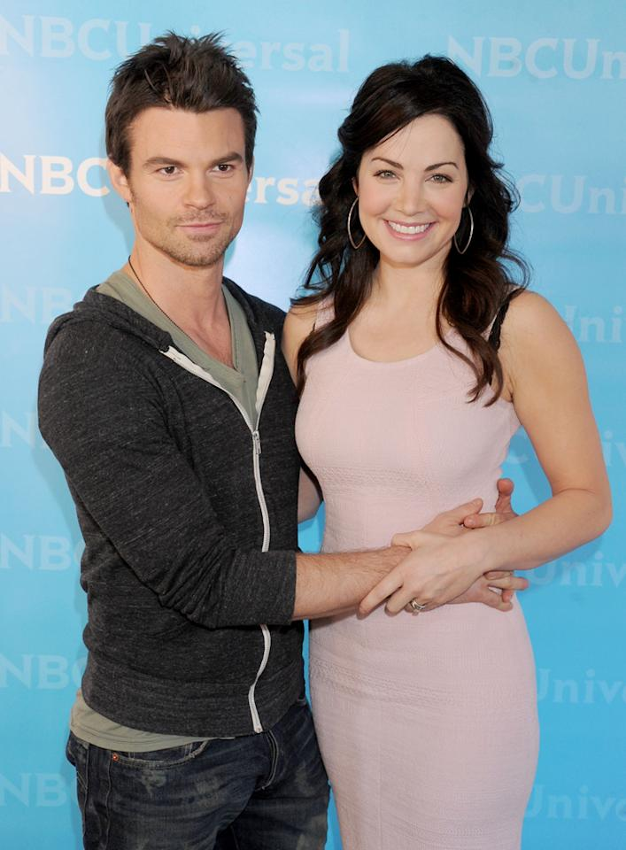"Daniel Gillies and Erica Durance (""<a href=""http://tv.yahoo.com/saving-hope/show/48347"">Saving Hope</a>"") arrive at NBC Universal's 2012 Summer Press Day at The Langham  Huntington Hotel and Spa on April 18, 2012 in Pasadena, California."