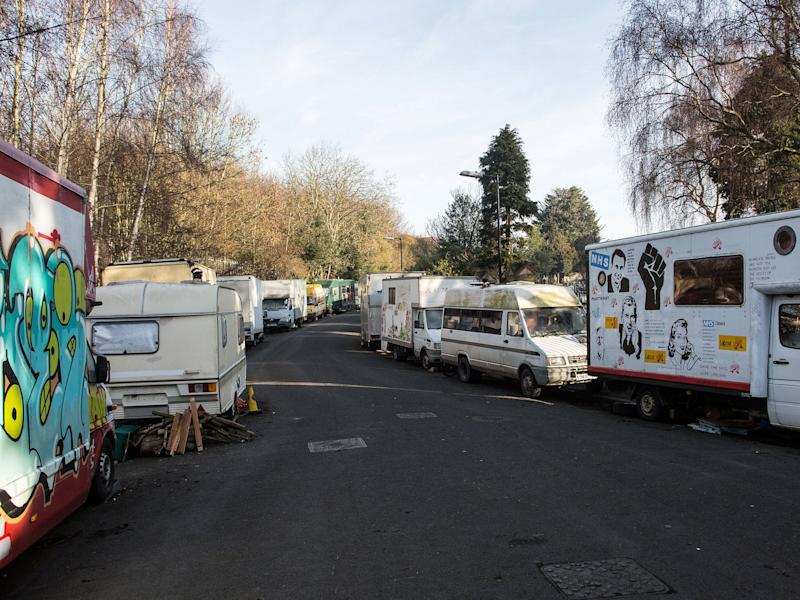 Around 50 caravans, horseboxes, motorhomes and lorries are parked on Greenbank View, close to a cemetery in Easton: SWNS