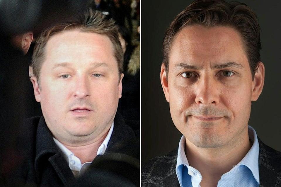 Michael Spavor (left) and Michael Kovrig (right) were detained on spying charges  (CRISIGROUP/AFP via Getty Images)