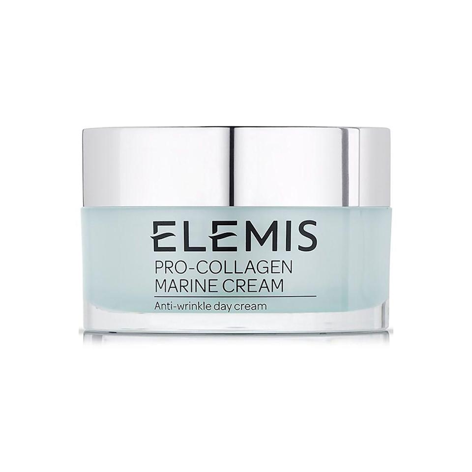 """<p><strong>Elemis</strong></p><p>ulta.com</p><p><strong>$128.00</strong></p><p><a href=""""https://go.redirectingat.com?id=74968X1596630&url=https%3A%2F%2Fwww.ulta.com%2Fpro-collagen-marine-cream%3FproductId%3DxlsImpprod18731125&sref=https%3A%2F%2Fwww.townandcountrymag.com%2Fstyle%2Fbeauty-products%2Fg33327892%2Fbest-collagen-creams%2F"""" rel=""""nofollow noopener"""" target=""""_blank"""" data-ylk=""""slk:Shop Now"""" class=""""link rapid-noclick-resp"""">Shop Now</a></p><p>Marine collagen derived from a unique Mediterranean algae is blended with ginko biloba, chlorella, rose extract, and mimosa in what is consistently rated one of the best collagen creams on the market, with clinicals showing wrinkle reduction within 14 days of use. </p>"""