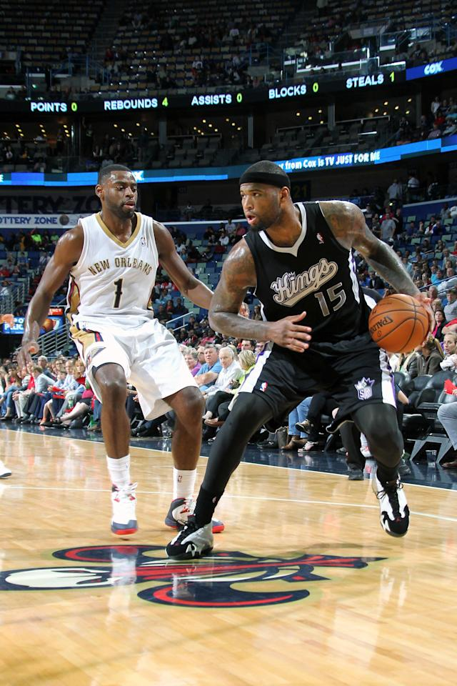 NEW ORLEANS, LA - MARCH 31: DeMarcus Cousins #15 of the Sacramento Kings handles the ball against the New Orleans Pelicans on March 31, 2014 at the Smoothie King Center in New Orleans, Louisiana. (Photo by Layne Murdoch Jr./NBAE via Getty Images)
