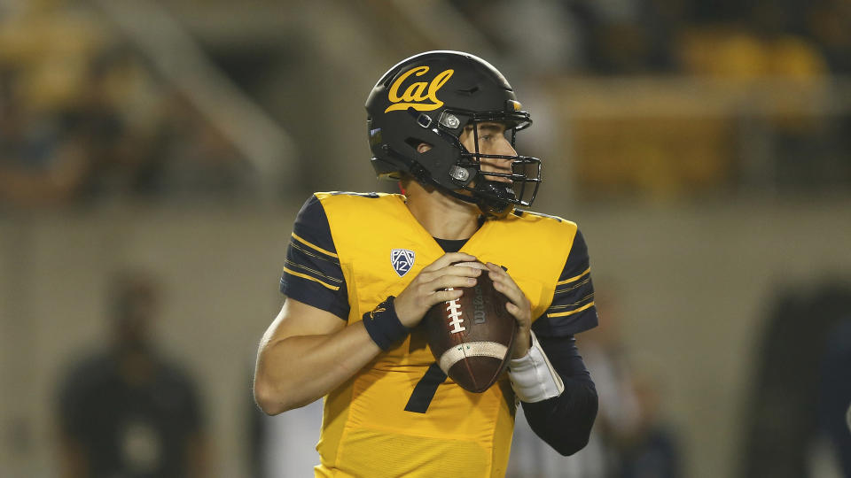 California Golden Bears quarterback Chase Garbers (7) drops back on a play against the Nevada Wolf Pack during an NCAA football game on Saturday, Sept. 4, 2021 in Berkeley, Calif. (AP Photo/Lachlan Cunningham)