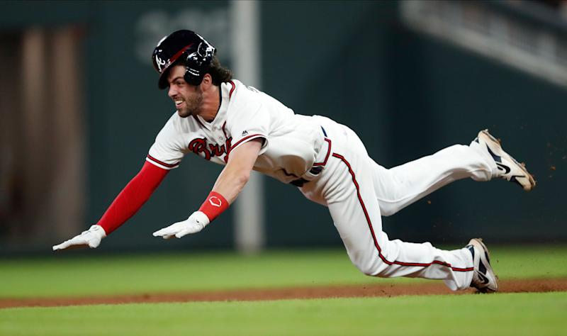 07968a5858c Atlanta Braves  Dansby Swanson (7) slides into second base with a double in