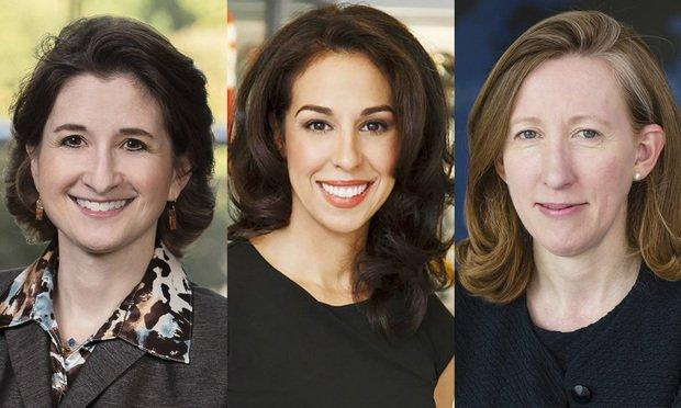 Kerri Ruttenberg, partner, Jones Day (from left); Anastasia Danias Schmidt, executive vice president and general counsel, Major League Soccer; and Jennifer Newstead, Facebook general counsel. (Courtesy photos)