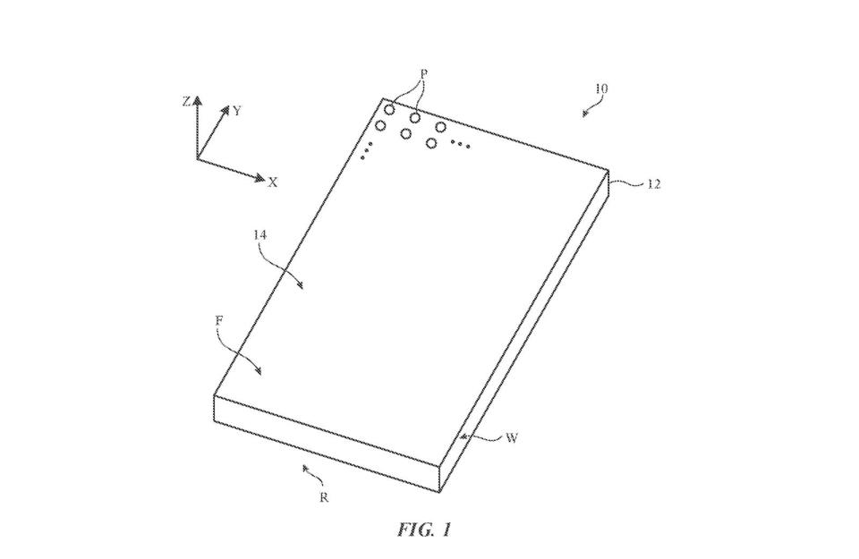 A device (10) features a housing (12), a front face (F) with display (14) made of pixels (P), a rear face (R), and sidewalls (W). - Credit: Apple via USPTO