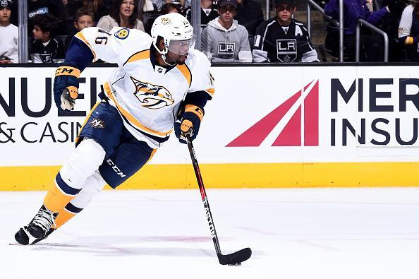 """<a class=""""link rapid-noclick-resp"""" href=""""/nhl/players/4558/"""" data-ylk=""""slk:P.K. Subban"""">P.K. Subban</a> of the <a class=""""link rapid-noclick-resp"""" href=""""/nhl/teams/nas/"""" data-ylk=""""slk:Nashville Predators"""">Nashville Predators</a> skates during the game against the <a class=""""link rapid-noclick-resp"""" href=""""/nhl/teams/los/"""" data-ylk=""""slk:Los Angeles Kings"""">Los Angeles Kings</a> on October 27, 2016 at Staples Center in Los Angeles, California. (Getty Images)"""