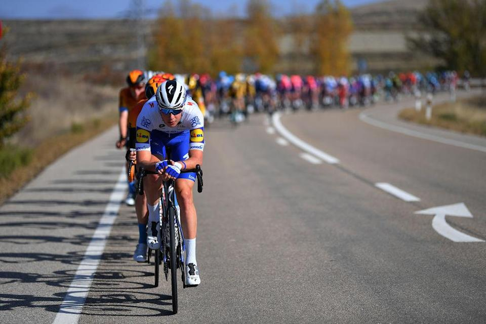 AGUILAR DE CAMPOO SPAIN  OCTOBER 29 Ian Garrison of The United States and Team Deceuninck  QuickStep  Peloton  during the 75th Tour of Spain 2020 Stage 9 a 1577km stage from Cid Campeador Military Base Castrillo del Val to Aguilar de Campoo  lavuelta  LaVuelta20  on October 29 2020 in Aguilar de Campoo Spain Photo by Justin SetterfieldGetty Images