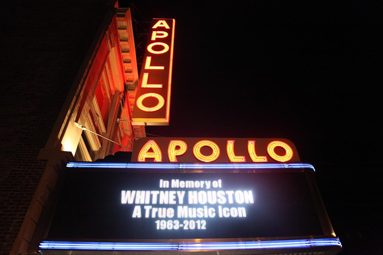 NEW YORK, NY - FEBRUARY 12:  Remembrances of singer Whitney Houston are seen around Harlem's Apollo Theatre on the streets of Manhattan on February 12, 2012 in New York City. Singer Whitney Houston died on February 11, 2012 at The Beverly Hilton hotel in Beverly Hills, CA.  (Photo by Taylor Hill/Getty Images)