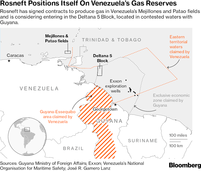 """(Bloomberg) -- Want the lowdown on European markets? In your inbox before the open, every day. Sign up here.Russia's state-controlled oil giant, Rosneft PJSC, is extracting concessions from crisis-ridden Venezuela to enter the offshore natural gas market on the cheap, a potential headache for the U.S. and Europe.An accord signed by both Russia and Venezuela earlier this month will give Rosneft tax breaks to produce and export gas from the Patao and Mejillones fields off Venezuela's east coast. The document, which also includes a """"fair market price"""" in the event of an expropriation, makes changes to a bilateral agreement reached in 2009, according to a filing by the Russian government.The deal underscores how Russia is both propping up and gaining from the Nicolas Maduro regime at a time when the U.S. is sanctioning Maduro and China has cut its support. Venezuelan gas could eventually offer Russia new entry points into both Asia and Europe.""""China is backing away in terms of its financial exposure,"""" Andrew Stanley, an associate fellow at the Center for Strategic and International Studies, said in a telephone interview. """"Whereas the Russians, over the past few years, they've gone in the opposite direction, they've kind of doubled down and seen this as an opportunistic plan.""""Since 2014, Rosneft has loaned about $6.5 billion to Venezuela in exchange for oil, according to data compiled by Bloomberg. Petroleos de Venezuela SA, or PDVSA, has been repaying the loans by delivering barrels to Rosneft, and had an outstanding debt of about $1.8 billion in the first quarter, according to a company presentation.As a result of the changes signed by Russian President Vladimir Putin, Rosneft and its suppliers will be exempt from value added and import taxes to develop the two gas fields, which are near to where Exxon Mobil Corp. is rushing to extract oil in neighboring Guyana. The agreement was filed online by the Russian legal information website, which publishes orders by the presi"""