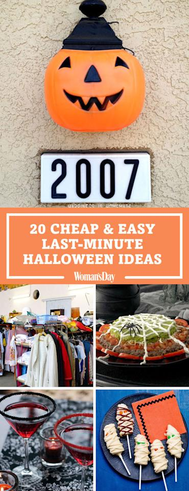 "<p>Save these cheap and easy last-minute Halloween ideas for later by pinning this image! Follow Woman's Day on <a rel=""nofollow"" href=""https://www.pinterest.com/womansday/"">Pinterest</a> for more fun Halloween ideas. </p>"