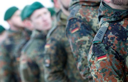 Soldiers of German armed forces Bundeswehr take part in farewell ceremony in Oberviechtach