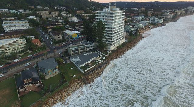 Massive amounts of white wash have taken over the NSW east coast. Photo: UNSW Water Research Laboratory