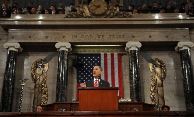 President Obama delivers his State of the Union address in 2010.