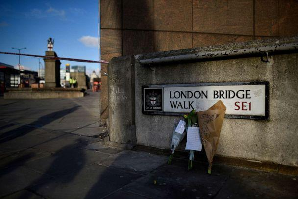 PHOTO: Flowers rest against a wall at the scene of yesterday's London Bridge stabbing attack on Nov. 30, 2019 in London. (Peter Summers/Getty Images, FILE)