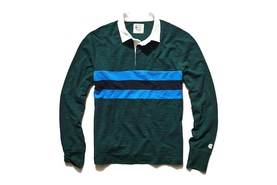 "$168, Todd Snyder. <a href=""https://www.toddsnyder.com/collections/sale/products/piece-stripe-rugby-green"" rel=""nofollow noopener"" target=""_blank"" data-ylk=""slk:Get it now!"" class=""link rapid-noclick-resp"">Get it now!</a>"