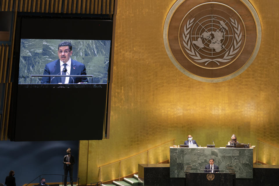 Yemen's foreign minister Ahmad Awad bin Mubarak the 76th Session of the United Nations General Assembly, Monday, Sept. 27, 2021, at U.N. headquarters. (AP Photo/John Minchillo, Pool)